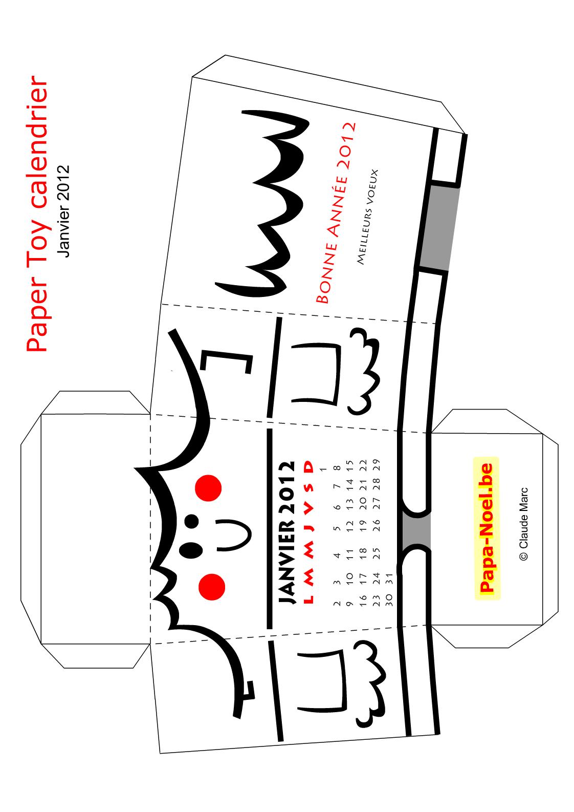 Paper toy calendrier de janvier 2012 bricolage jouet en papier voeux de nouvel an nouvelle ann e - Bricolage noel cycle 3 ...