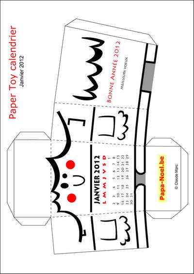 Paper Toy Calendrier De Janvier 2012 Bricolage Jouet En