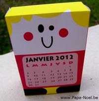 Calendrier à imprimer Janvier 2012 Nouvel an 2012 Paper toy