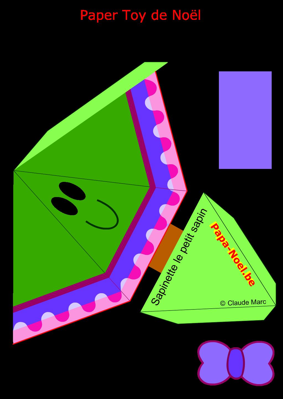 Paper toy noel enfant jouet en papier a imprimer sapin de no l fille bricolage faire activites - Patron sapin de noel ...