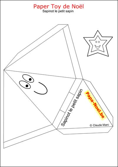 Paper toy noel enfant bricolage jouet en papier imprimer - Forme de sapin a imprimer ...