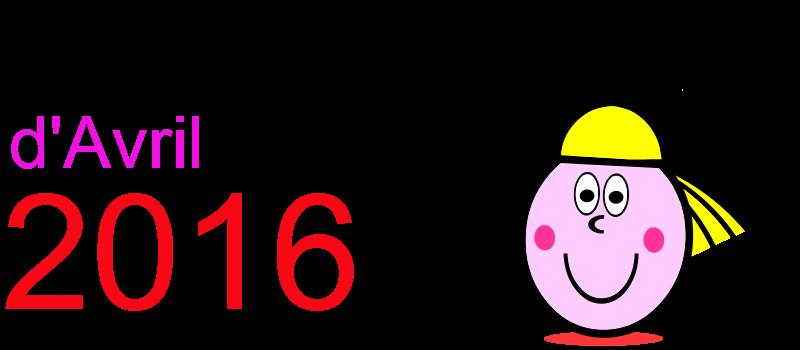 Calendrier avril 2016 à imprimer gratuitement