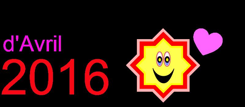 Calendrier avril 2016 à imprimer Dessin d'étoile et coeur