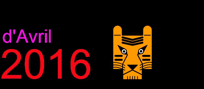 Calendrier avril 2016 à imprimer Dessin de tigre