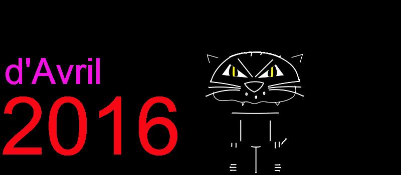 Calendrier avril 2016 à imprimer Dessin de chat