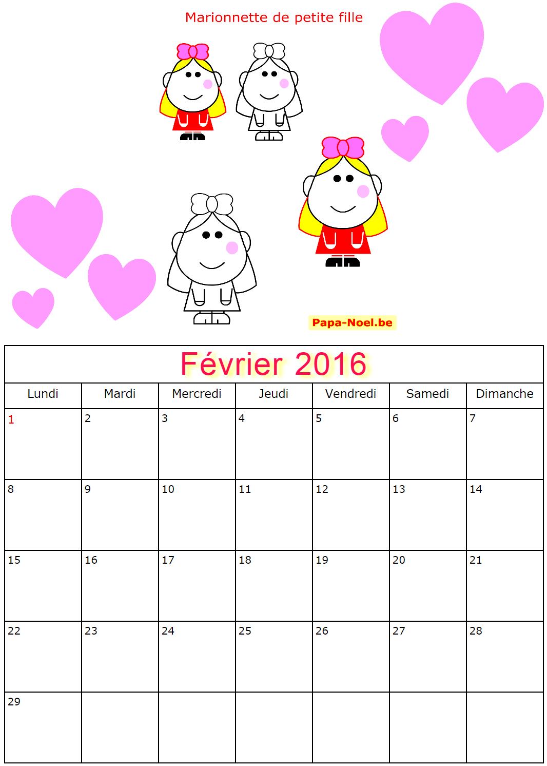 Calendriers de février 2016 à imprimer gratuit dessin de petite ...