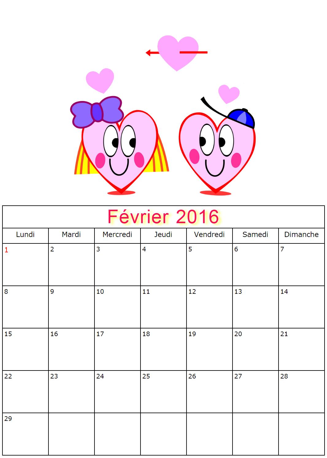 Les calendriers de Février 2016 à imprimer de Papa Noël, le Père ...