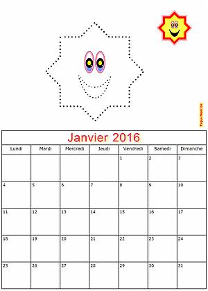 Calendrier janvier 2016 à imprimer maternelle