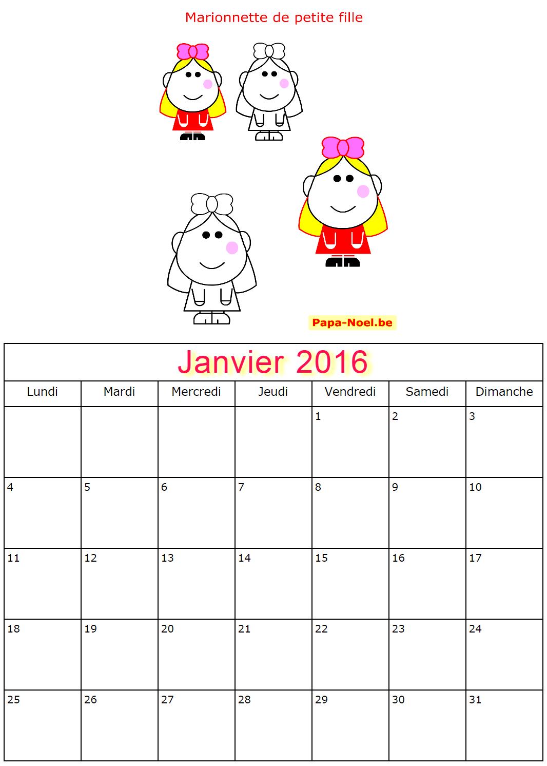 Calendriers de janvier 2016 à imprimer gratuit dessin de petite fille ...