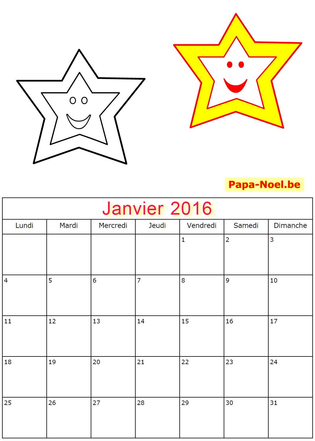 Calendriers de janvier 2016 à imprimer gratuit dessins d étoiles