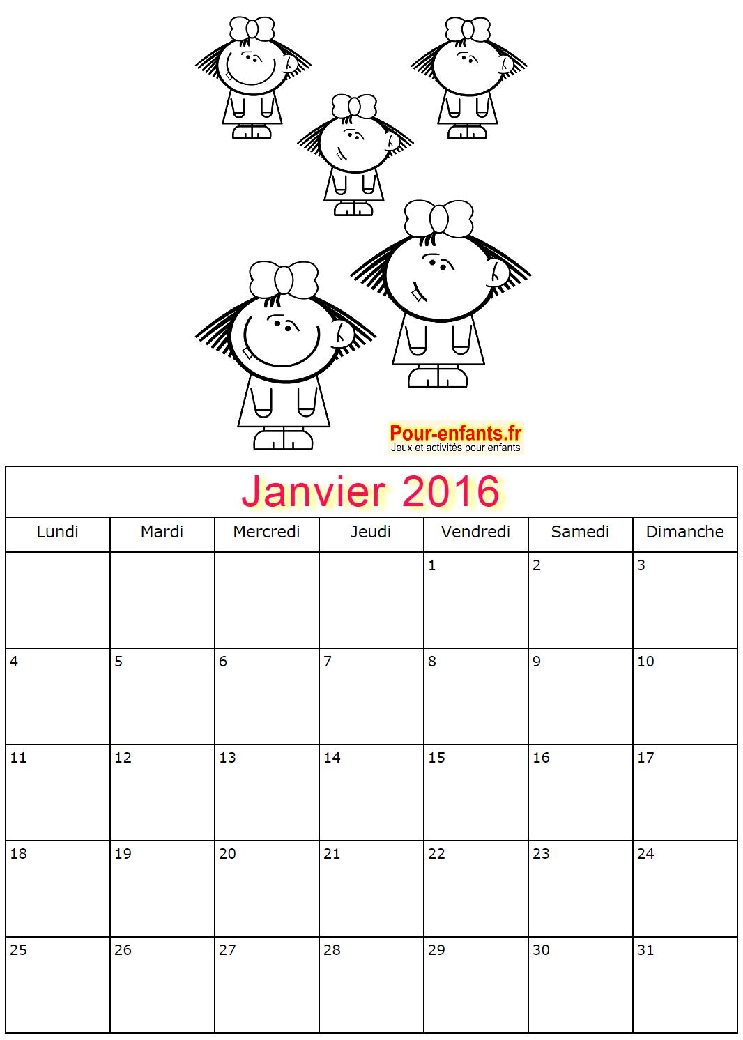 Les calendriers de Janvier 2016 à imprimer de Papa Noël, le Père ...