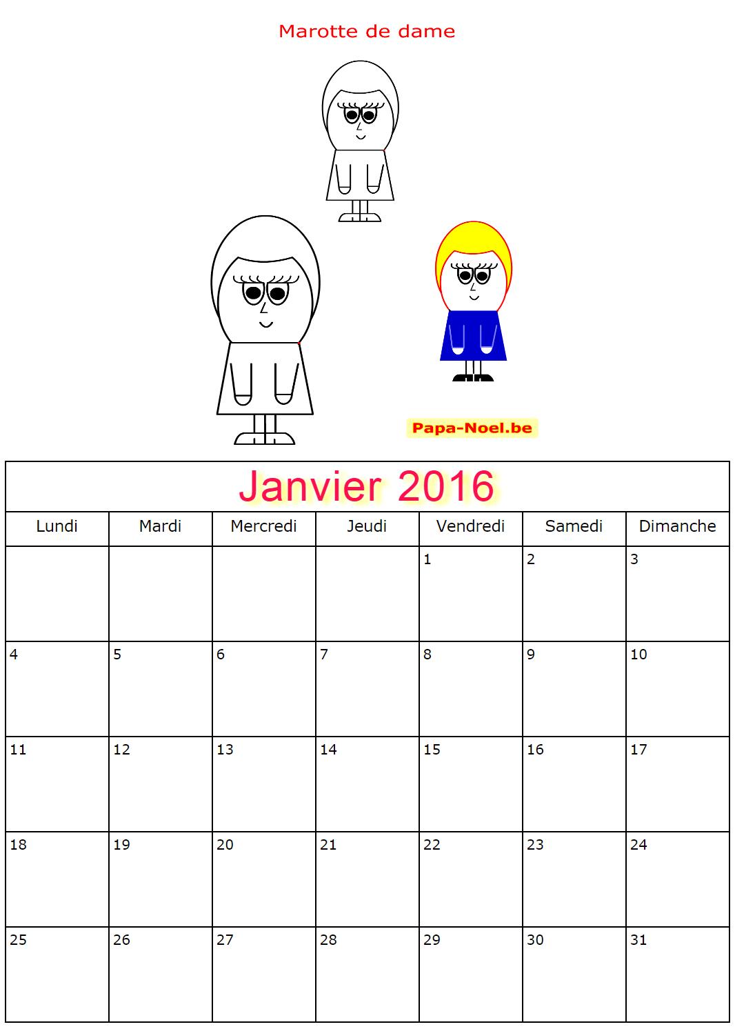 Calendriers de janvier 2016 à imprimer gratuitement calendrier pour ...