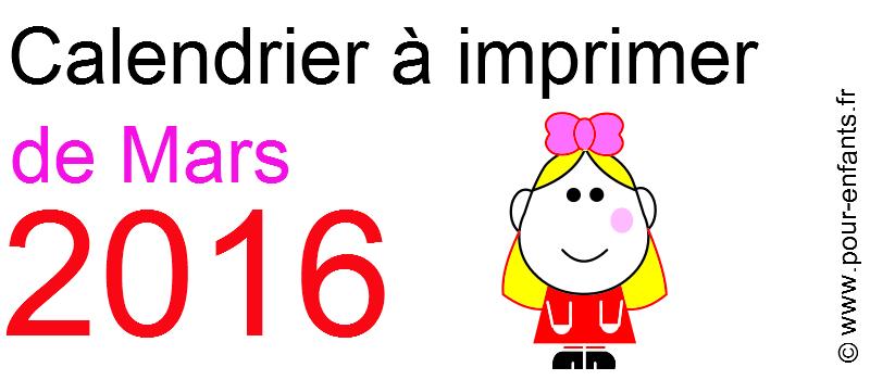 Calendrier mars 2016 à imprimer Dessin de fillette