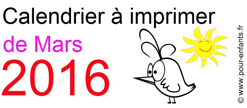 Calendrier mars 2016 à imprimer Dessin d'oiseau