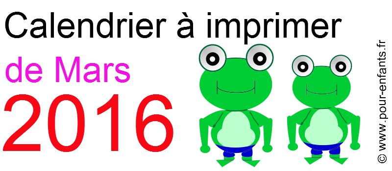 Calendrier mars 2016 à imprimer Dessin de grenouilles