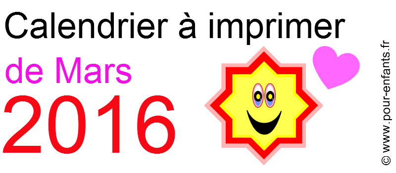 Calendrier mars 2016 à imprimer Dessin d'étoile et coeur