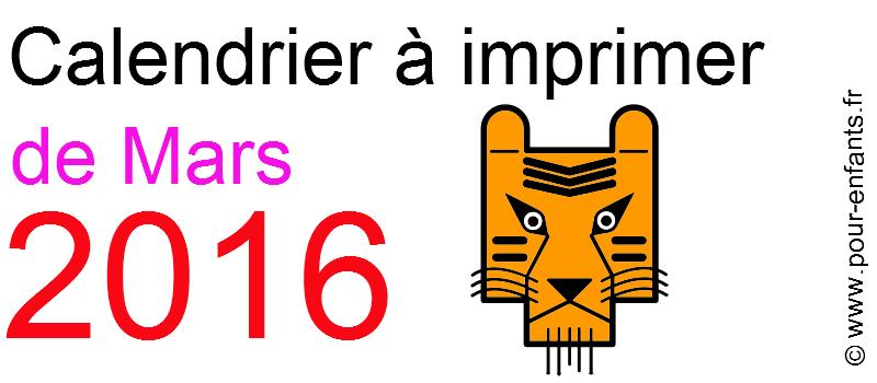 Calendrier mars 2016 à imprimer Dessin de tigre