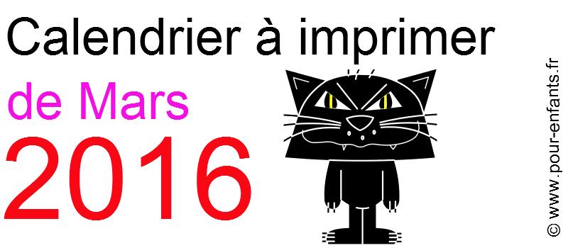 Calendrier mars 2016 à imprimer Dessin de chat