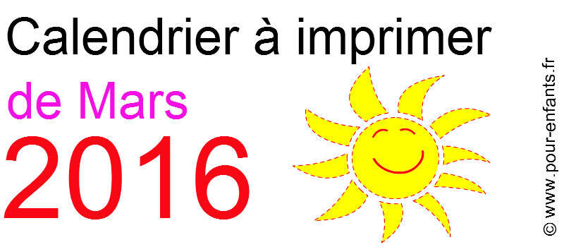 Calendrier mars 2016 à imprimer gratuitement