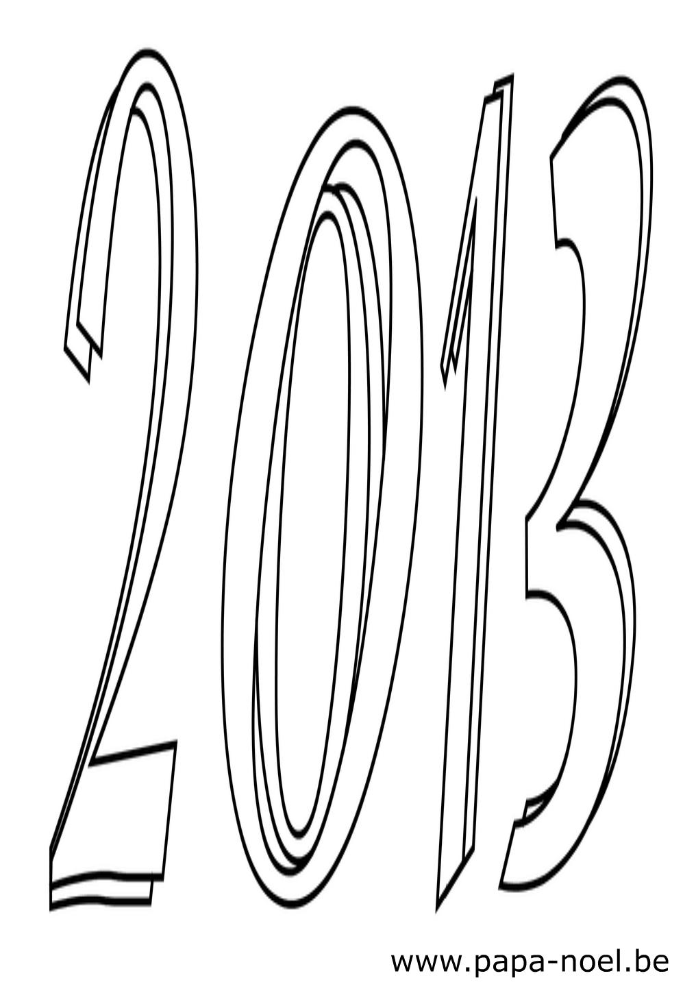 Dessin 2013 en chiffres pour faire une carte de nouvel an