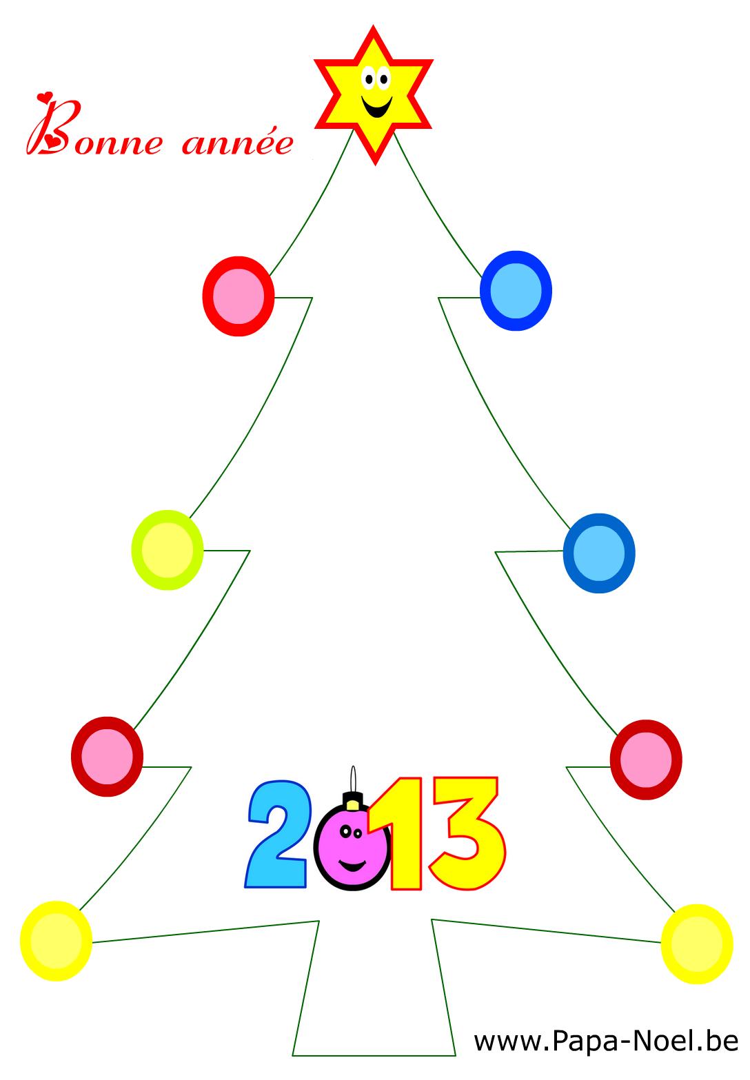 Coloriage de carte Bonne année 2013 Fabriquer faire cartes nouvel