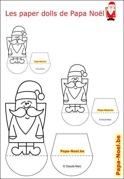 Paper doll Papa NOEL enfant jouet en papier paperdoll A imprimer